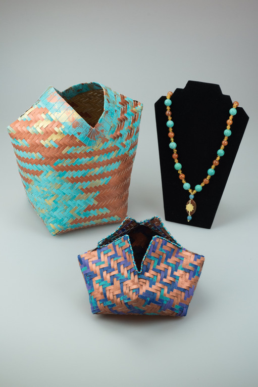 Shimmering Echo, Dancing to the Rhythms of Threes Diagonal Twills & Necklace