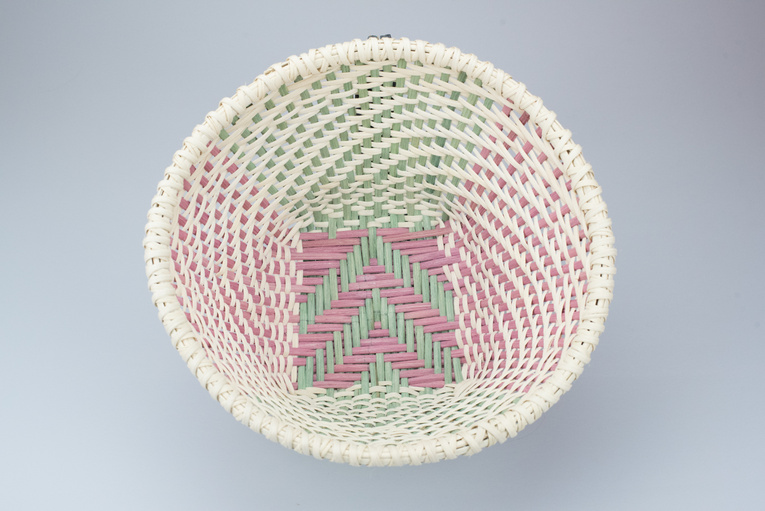 Dusty Rose & Green Twill Reed Bowl Overhead