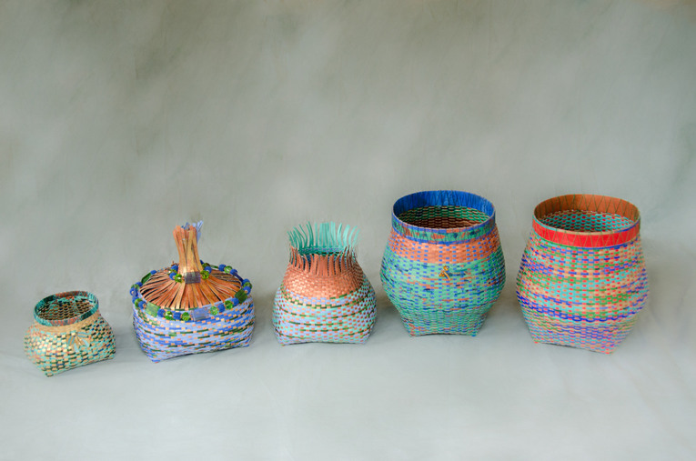 Five Cathead Baskets Made With Paper & Acrylic Paint